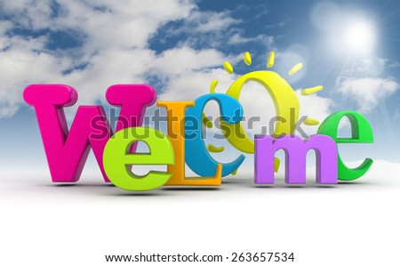 stock illustration welcome word with the sun on the sky
