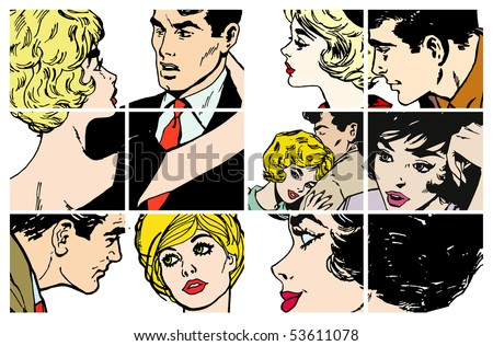 Stock Illustrations with several pairs of lovers - stock photo