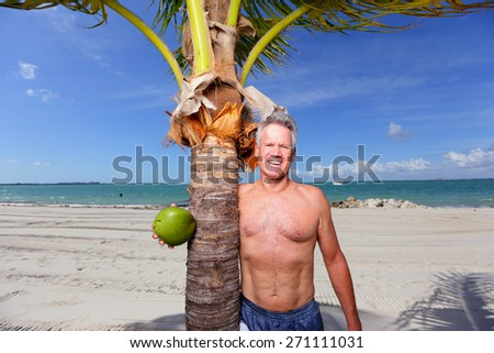 Stock image of a man posing by a palm tree in Miami Beach - stock photo