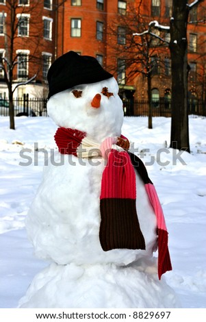 Stock image of a snowman at Boston Common, Boston