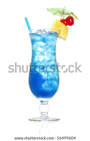 Stock image of Blue Hawaiian cocktail over white background. Find more cocktail and prepared drinks images on my portfolio. - stock photo