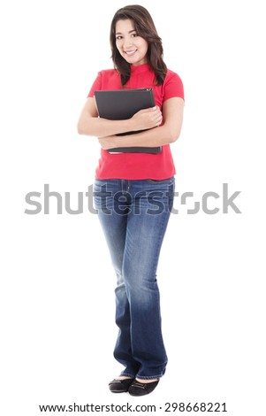 Stock image of casual female student isolated on white background - stock photo