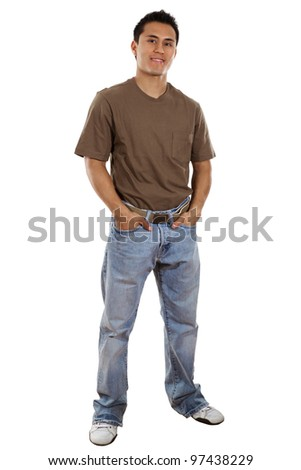 Stock image of casual man isolated on white background, full frame. - stock photo