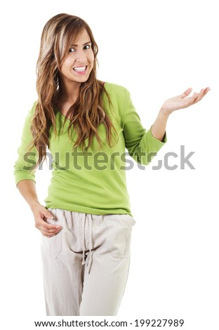 Stock image of casual woman isolated on white background - stock photo