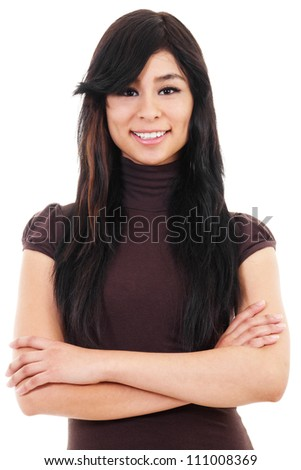 Stock image of casual woman isolated on white background, asian ethnicity - stock photo
