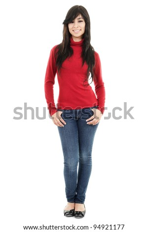 Stock image of casual woman isolated on white background, full shot - stock photo