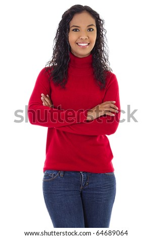 Stock image of confident woman smiling over white background