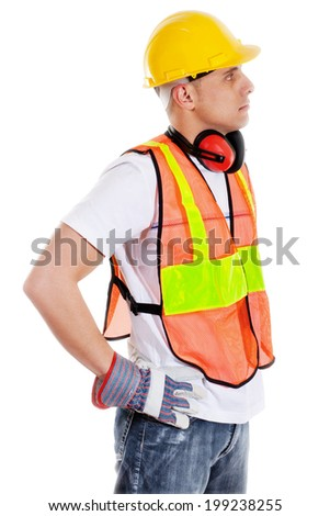 Stock image of construction worker isolated on white - stock photo