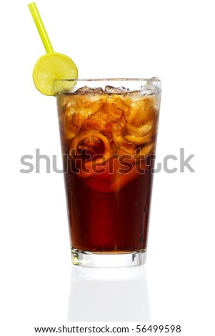 Stock image of Cuba Libre Cocktail over white background. Find more cocktail and prepared drinks images on my portfolio. - stock photo