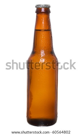 Stock image of dark beer bottle with silver cap over white background