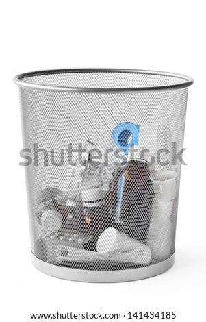 Stock image of different unnecessary medicines thrown in the dustbin. The object is in the center and is isolated on white. - stock photo