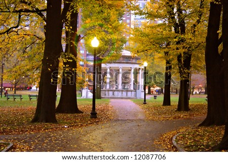 Stock image of fall foliage at Boston Public Garden