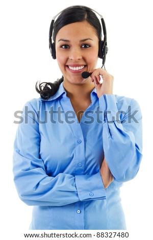 Stock image of female call center operator isolated on white - stock photo