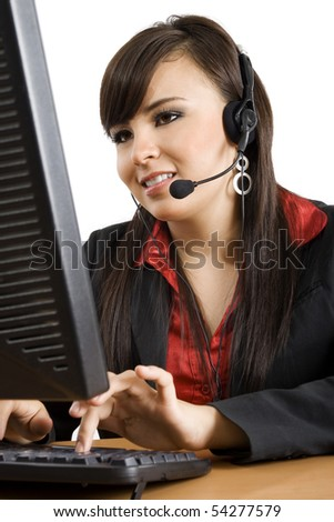 Stock image of female call center operator over white background - stock photo