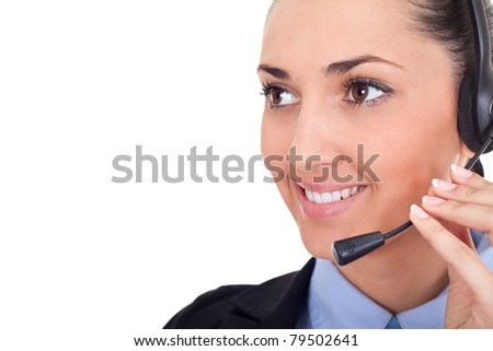 stock image of female call center operator over white background