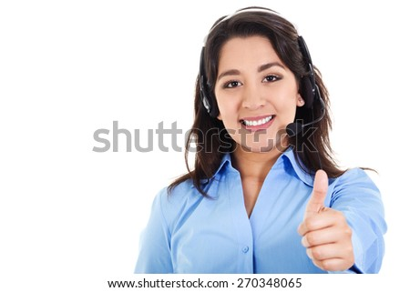Stock image of female call center operator smiling and giving thumbs up, wearing business attire, isolated on white - stock photo