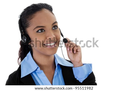 Stock image of female call center operator with copy space