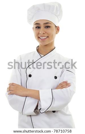 Stock image of female chef isolated on white background - stock photo