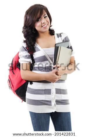 Stock image of female college student isolated on white background - stock photo