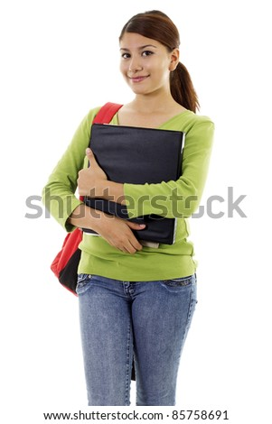 Stock image of female student, isolated on white background - stock photo