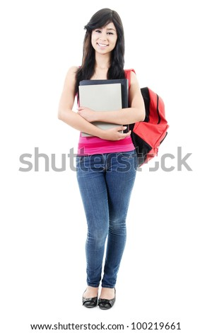 Stock image of female student isolated on white background, full body shot. - stock photo