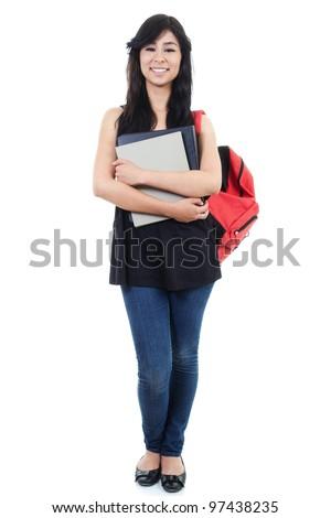 Stock image of female student isolated on white background, full frame. - stock photo