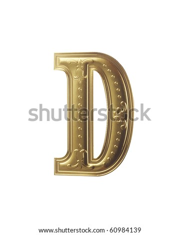 stock image of gold color alphabet - stock photo