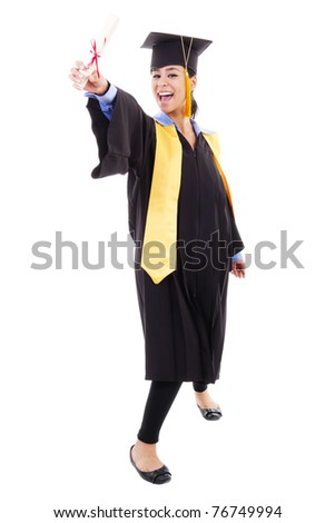 Stock image of happy female graduate, isolated on white background - stock photo