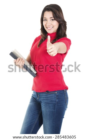 Stock image of happy female student carrying books with casual attire,  isolated on white background - stock photo