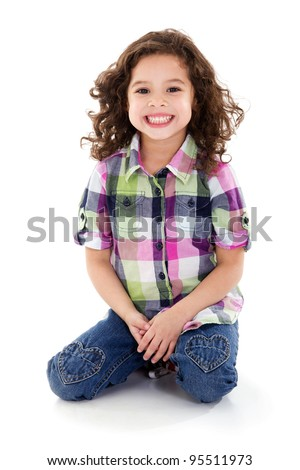 Stock image of happy girl, isolated on white background - stock photo