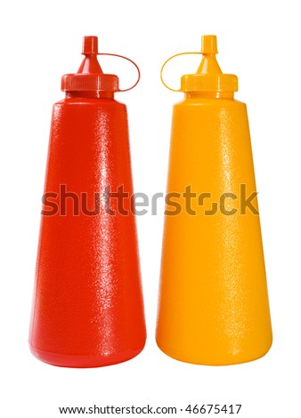 Stock image of ketchup and mustard plastic bottles isolated on white