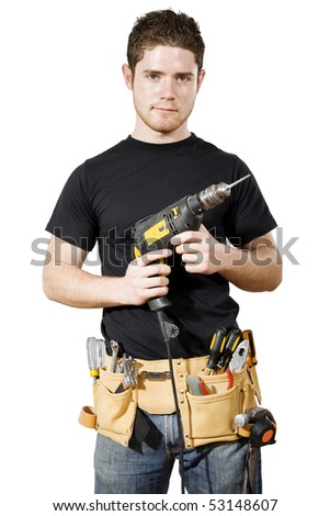 Stock image of male handyman/worker over white background - stock photo