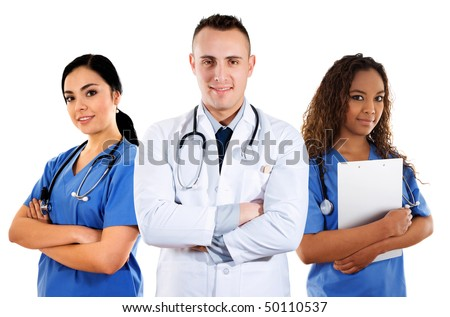 Stock image of medical team over white background - stock photo