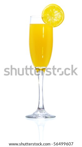 Stock image of Mimosa Cocktail over white background. Find more cocktail and prepared drinks images on my portfolio. - stock photo