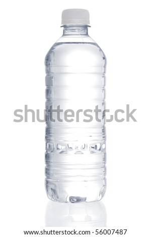 Stock image of purified water bottle over white background - stock photo