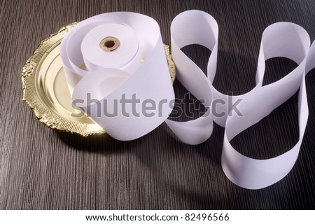 stock image of roll of the adding machine tape