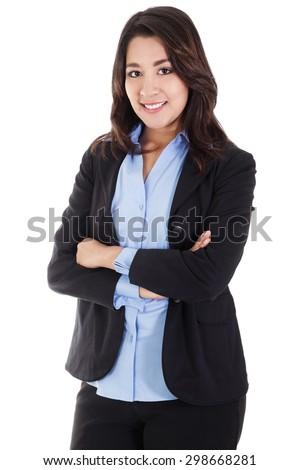 Stock image of smiling business woman isolated on white background - stock photo