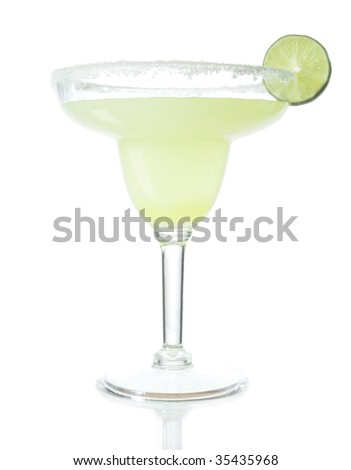 Stock image of Tequila Margarita mixed drink isolated on white with reflection on bottom - stock photo