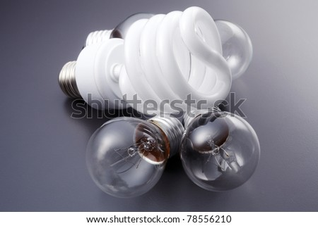 stock image of the energy saving bulb better than conventional l bulb