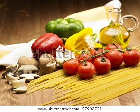 stock image of the pasta and ingredients - stock photo