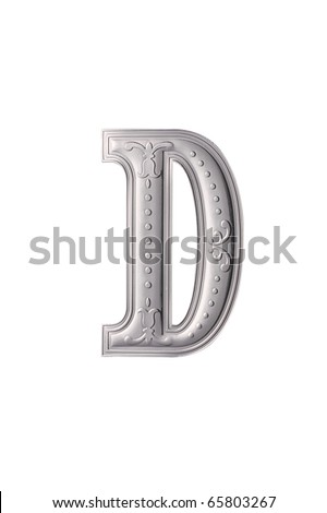 stock image of the silver color alphabet d - stock photo