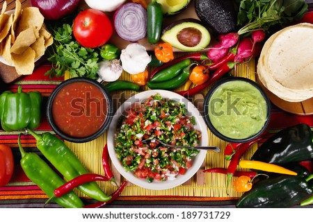 Stock image of traditional mexican food salsas and ingredients