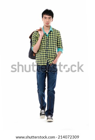 Stock image of university student carrying a bag-full body