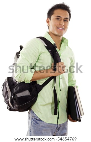 Stock image of university student over white background - stock photo