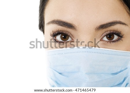 Stock image of woman wearing mouth cover mask isolated on white closeup