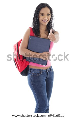 Stock image of young female student over white background