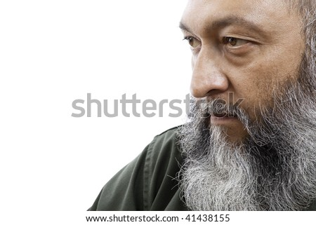 Stock images of bearded male isolated on white