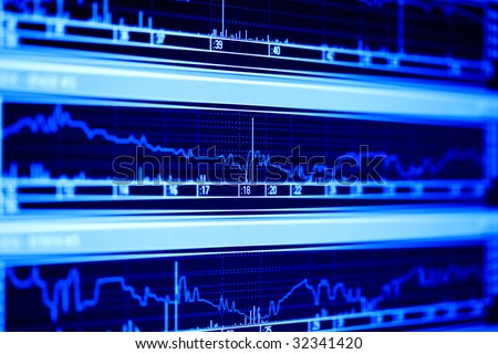 Stock index on the lcd monitor. - stock photo