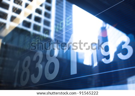 stock index with building reflect on glass