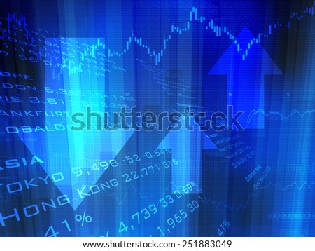 Stock Market Abstract with Up and Down Arrows - stock photo